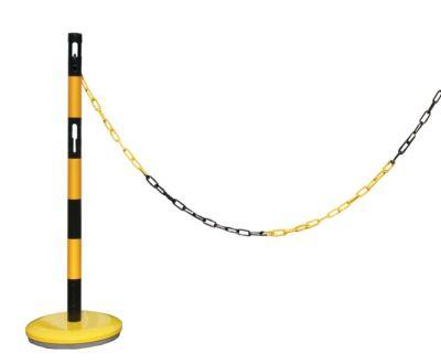 Absperrpfosten-Anbauset - mit 1 Pfosten, 2,5 m Kette, gelb / schwarz