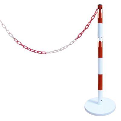 Absperrpfosten-Anbauset - mit 1 Pfosten, 2,5 m Kette, rot / weiß