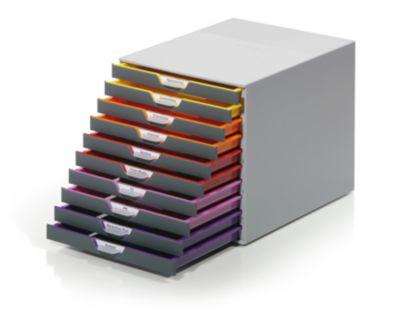 Schubladen-Box - HxBxT 292 x 280 x 356 mm, grau, 10 Schubladen