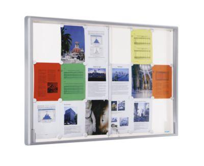 office akktiv Schaukasten, Alu-Rahmen, Schiebetüren - 18 x DIN A4,