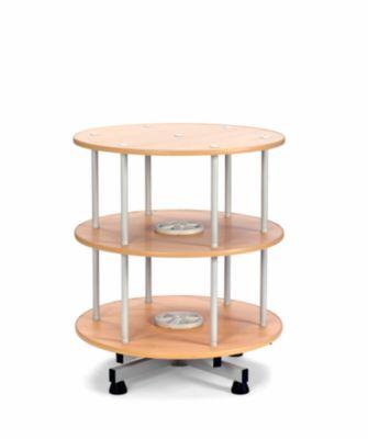 Ordner-Drehsäule - Ø 800 mm, Tisch-Ausführung 2 Etagen, Dekor Buche