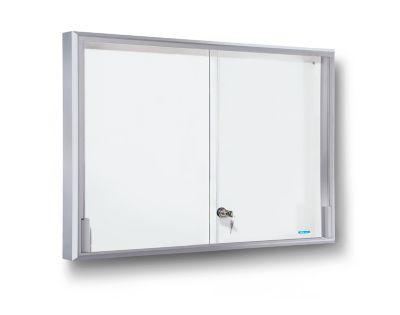 office akktiv Schaukasten, Alu-Rahmen, Schiebetüren - 8 x DIN A4,