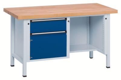 Werkbank, stabil - 2 Schubladen, ½ Ablageboden Buche massiv,