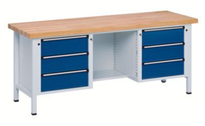Werkbank, stabil - 6 Schubladen, ½ Ablageboden Buche massiv,