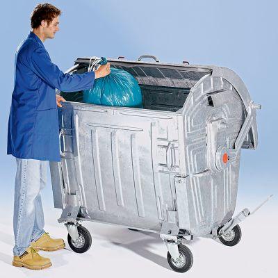 Müllgroßbehälter, verzinkt - Volumen 1100 l mit Kindersicherung,