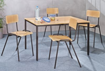 Mehrzweck-Sitzgruppe - 1 Tisch, 4 Stühle Tischplatte Buche-Dekor,