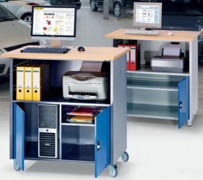 PC-Tisch - mit durchgehendem Fachboden lichtgrau RAL 7035 / enzianblau 5010, mit Fahrsatz