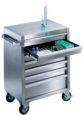 Edelstahl-Werkzeugwagen - 6 Schubladen mit Einzelarretierung HxBxT