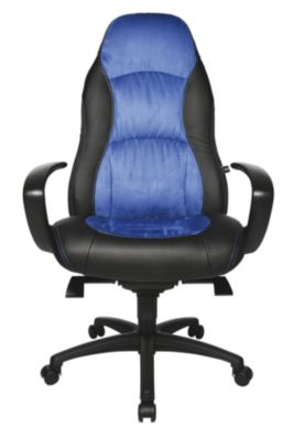 Drehsessel - Kunstleder / Mikrofaser schwarz / blau