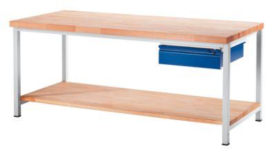 Werkbank, stabil - 1 Schublade Größe L, 1 Ablageboden Buche massiv