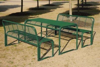 Sitzgarnitur aus Stahl von Böco - Bank, Tisch tannengrün