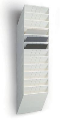 Wandprospektspender - Querformat, 12 x DIN A4, VE 2 Stk weiß