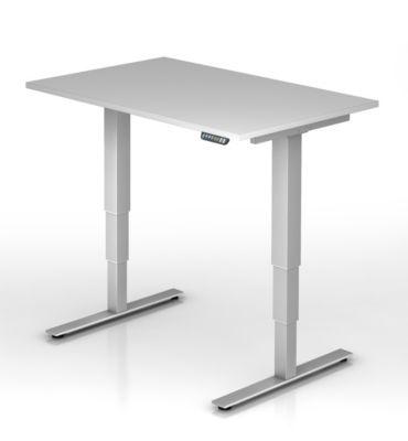 UPLINER-2.0 Stehschreibtisch - T-Fuß-Gestell, Breite 1200 mm lichtgrau