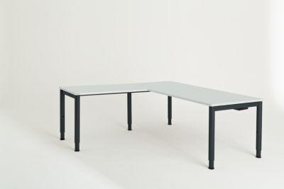 Schreibtisch, verkettet, Fußform Rundrohr - HxBxT 650 – 850 x
