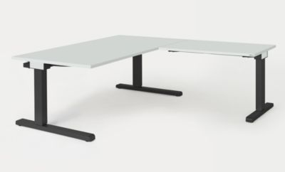Schreibtisch, verkettet - BxT 1600 x 900 mm, Winkelansatz