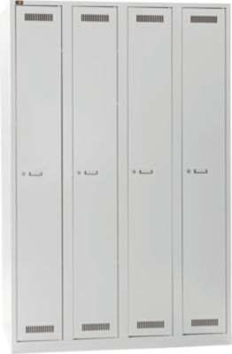 LIGHT Garderobenschrank - lichtgrau 4 Abteile, Breite 1200 mm