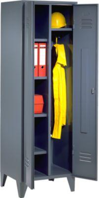 Stahlschrank - Unterkunftschrank mit Stollenfüßen blaugrau RAL