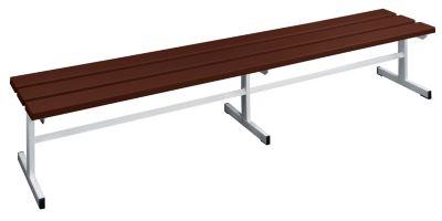 Garderobenbank - Sitzfläche einseitig braun, 2000 mm Länge