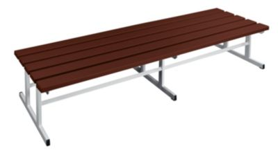 Garderobenbank - Sitzfläche beidseitig braun, 2000 mm Länge