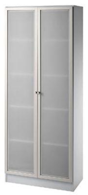 FINO Glastürenschrank - 4 Fachböden, BxT 800 x 420 mm lichtgrau