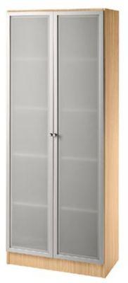 FINO Glastürenschrank - 4 Fachböden, BxT 800 x 420 mm Buche-Dekor