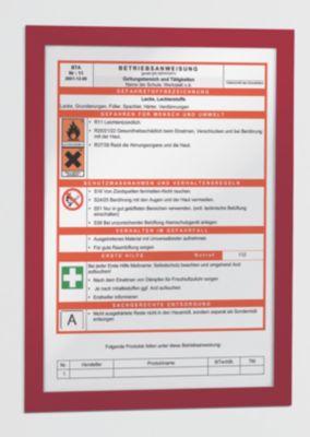 Magnetrahmen - selbstklebend für DIN A4, Rahmen rot, VE 10 Stk