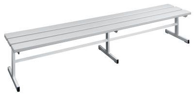 Garderobenbank - Sitzfläche einseitig lichtgrau, 2000 mm Länge