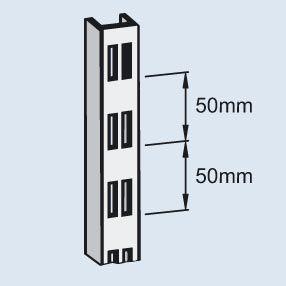 Wandregal-Lochschiene - Stahl, kunststoffbeschichtet, Länge 1000 mm