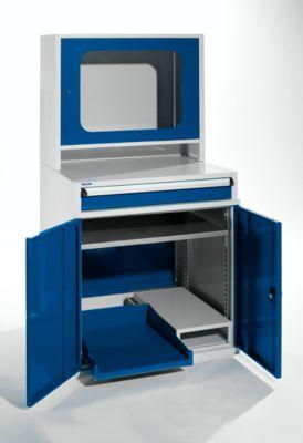 Computerschrank - HxBxT 1600 x 800 x 695 mm mit schmalem Auszug