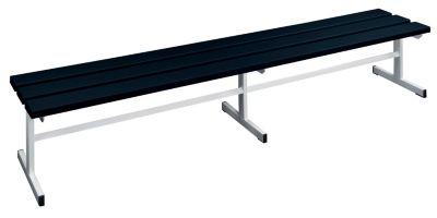 Garderobenbank - Sitzfläche einseitig schwarz, 2000 mm Länge