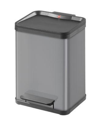 Wertstoff-Tretsammler aus Stahlblech, Höhe 440 mm - Innenbehälter 2 x