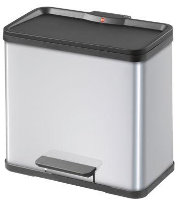 Wertstoff-Tretsammler aus Stahlblech, Höhe 440 mm - Innenbehälter 3 x