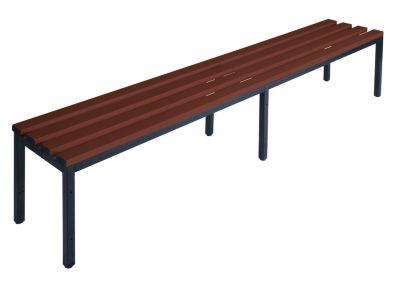 Garderobenbank ohne Lehne - PVC-Leisten, braun Länge 2000 mm
