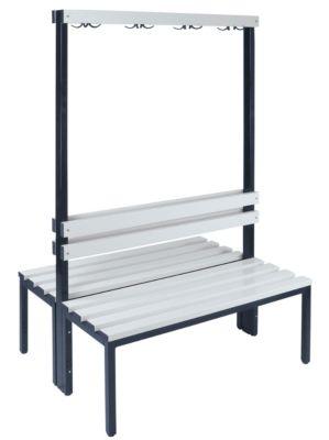 Garderobenbank, zweiseitig - Länge 1000 mm, PVC-Leisten 2 x 4