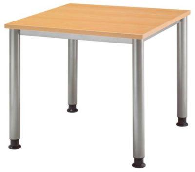 Schreibtisch - BxT 800 x 800 mm, 4 Rundrohrbeine Buche