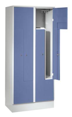 Stahlspind, Z-Schrank - 4 Abteile Türen taubenblau