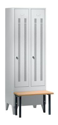 Kleiderspind mit vorgebauter Bank - Lochblech-Türen, Abteilbreite