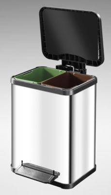 Wertstoff-Tretsammler aus Edelstahl - Höhe 440 mm Innenbehälter 2 x 11