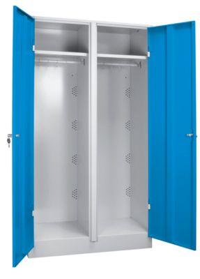 Stahlschrank - Kleiderschrank breit, mit Bodensockel Türen