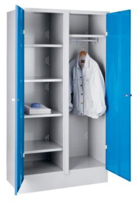 Stahlschrank - Lagerschrank breit, mit Bodensockel Türen