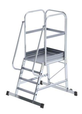 Alu-Podestleiter - einseitig begehbar, fahrbar 4 Stufen