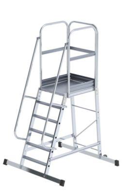 Alu-Podestleiter - einseitig begehbar, fahrbar 6 Stufen