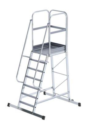 Alu-Podestleiter - einseitig begehbar, fahrbar 7 Stufen