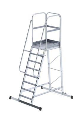 Alu-Podestleiter - einseitig begehbar, fahrbar 8 Stufen