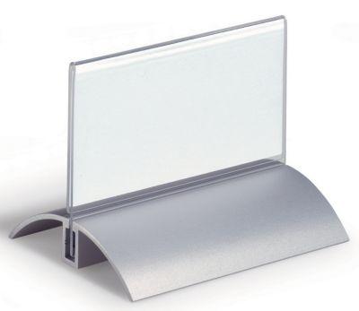 Tischnamensschild, Acryl mit Aluminiumfuß - HxB 52 x 100 mm VE