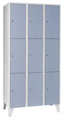 Schließfachschrank - 3 Abteile, 9 Fächer Breite 900 mm,