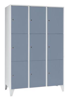 Schließfachschrank - 3 Abteile, 9 Fächer Breite 1200 mm,