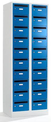 Postverteilerschrank - 20 Fächer, abschließbar enzianblau