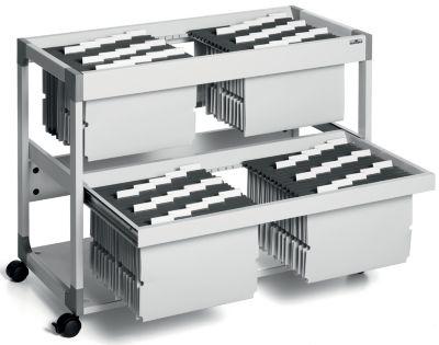 Hängemappenwagen MULTI DUO von Durable - für 200 Mappen, 2 Etagen mit
