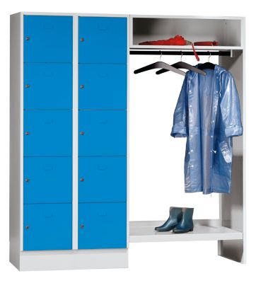 Schließfachgarderoben-System - 10 Abteile links, 10 Kleiderbügel